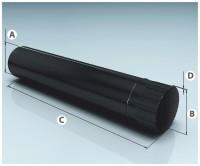 """Модуль трубы эмалированный черный  D150  L=1м  (0,8мм) AGNI - Интернет-магазин строительных и отделочных материалов, кровли, фасадов, печей, каминов Компании """"Интер -Технология""""."""