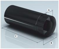 """Сэндвич труба AGNI  D120/200  L=1м (эмалированный черный 0,8мм) - Интернет-магазин строительных и отделочных материалов, кровли, фасадов, печей, каминов Компании """"Интер -Технология""""."""